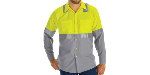 HI-VISIBILITY SHORT SLEEVE COLOR BLOCK WORK SHIRT: CLASS 2 LEVEL 2