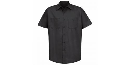 Chemise à bouton noir pour homme manche courte